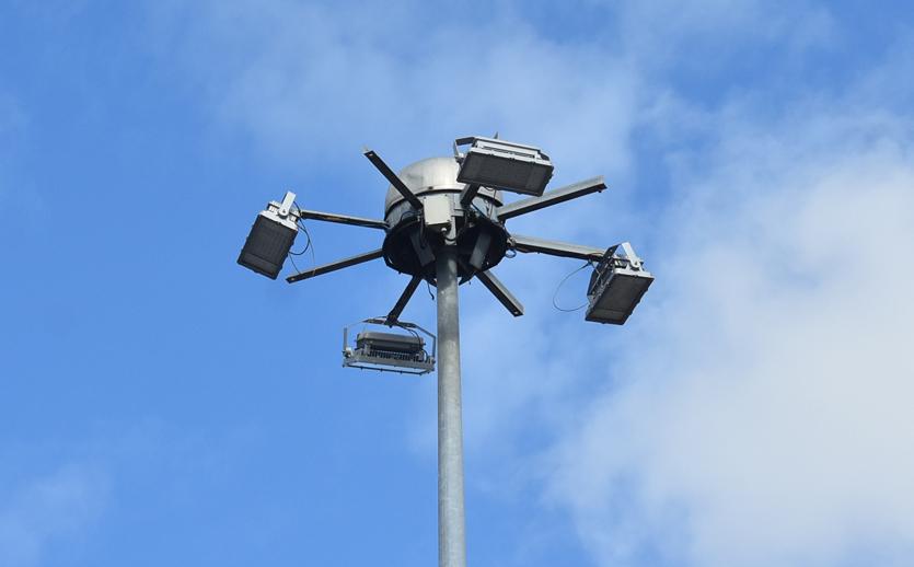 Close Up Photo of High Mast Floodlights