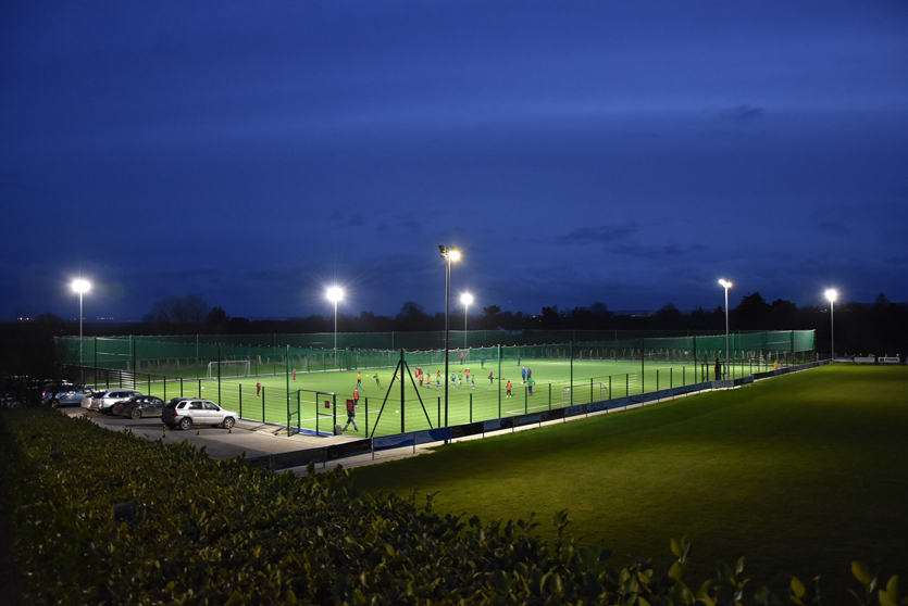 Football Pitch with nightime Floodlights